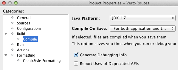 Setting Netbeans to use the JDK 1.7 for this project