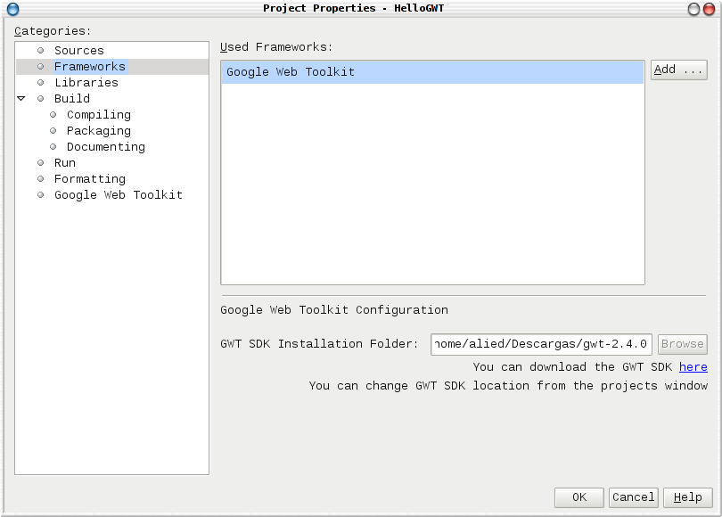 Setting framework in project's properties
