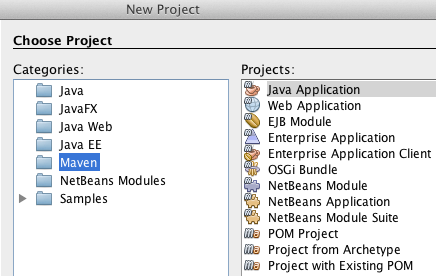 Creating a new Maven project in Netbeans