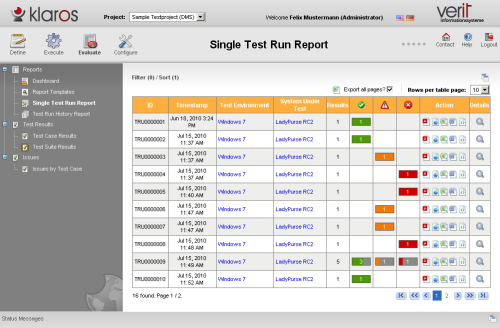 Screenshot Klaros-Testmanagement