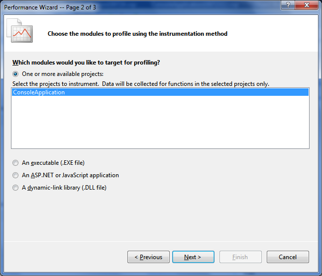Profiling an application with Visual Studio