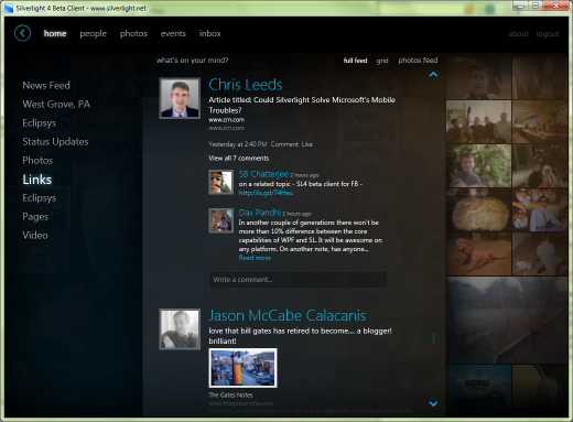 Silverlight Facebook Client - Newsfeed