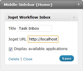 Figure 4: Configuring Joget Workflow Inbox Widget