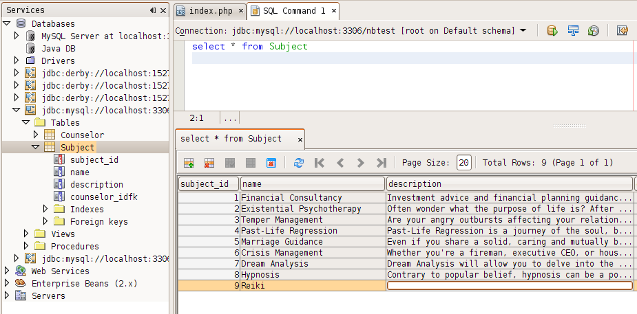MySQL table editing in NetBeans 6.5 beta