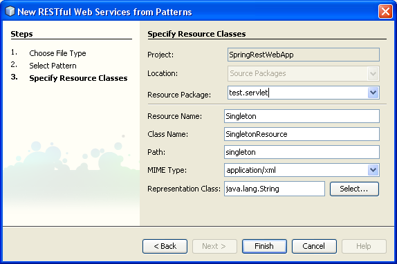 RESTful service from patterns wizard, showing resource and package names