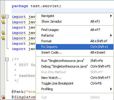Context menu inside code showing Fix Imports option
