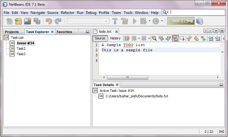 NetBeans IDE with NBTaskFocus panels