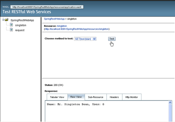 RESTful service tester in browser window, showing test of SingletonResource