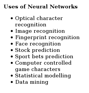 neural network usecases